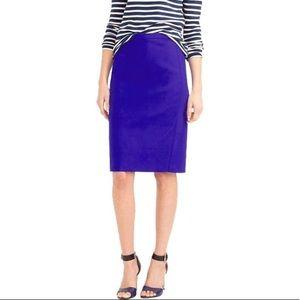 nwt J CREW cobalt blue no. 2 pencil skirt wool 0